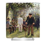 Old Men In Rockingham Park Shower Curtain by Walter Bonner Gash
