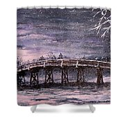 Old North Bridge In Winter Shower Curtain by Jack Skinner