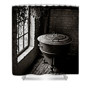 Old Stove Shower Curtain by Dave Bowman