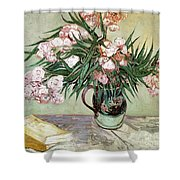 Oleanders And Books Shower Curtain by Vincent van Gogh