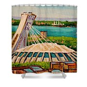 Olympic Stadium  Montreal Shower Curtain by Carole Spandau