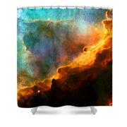 Omega Swan Nebula 3 Shower Curtain by The  Vault - Jennifer Rondinelli Reilly