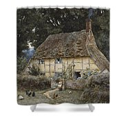 On The Brook Road Near Witley Shower Curtain by Helen Allingham