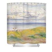 On The Cliffs Shower Curtain by Pierre Auguste Renoir