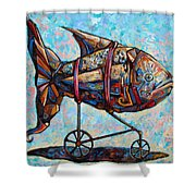 On The Conquer For Land Shower Curtain by Darwin Leon