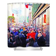On The Day Before Christmas . Stockton Street San Francisco . Photo Artwork Shower Curtain by Wingsdomain Art and Photography