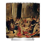 On The Deck During A Sea Battle Shower Curtain by Francois Auguste Biard
