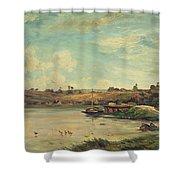 On The Loire Shower Curtain by Charles Francois Daubigny