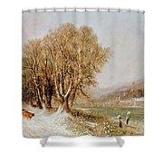 On The River Neckar Near Heidelberg Shower Curtain by Joseph Paul Pettit