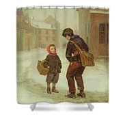 On The Way To School In The Snow Shower Curtain by Pierre Edouard Frere