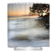One Against The Tides Shower Curtain by Mike  Dawson
