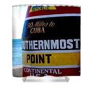 Only 90 Miles To Cuba Shower Curtain by Susanne Van Hulst