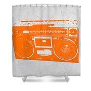 Orange Boombox Shower Curtain by Naxart Studio