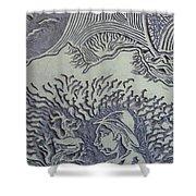 Original Linoleum Block Print Shower Curtain by Thor Senior