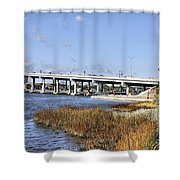 Ormond Beach Bridge Shower Curtain by Deborah Benoit