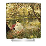 Our Holiday Shower Curtain by Charles James Lewis