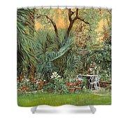 Our Little Garden Shower Curtain by Guido Borelli