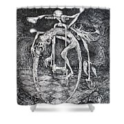 Ouroboros Perpetual Motion Machine Shower Curtain by Otto Rapp