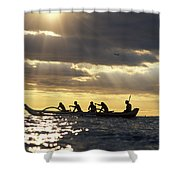 Outrigger Canoe Shower Curtain by Vince Cavataio - Printscapes