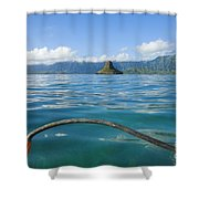Outrigger On Ocean Shower Curtain by Dana Edmunds - Printscapes