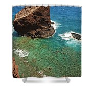 Overlooking Puu Pehe II Shower Curtain by Ron Dahlquist - Printscapes