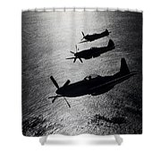 P-51 Cavalier Mustang With Supermarine Shower Curtain by Daniel Karlsson