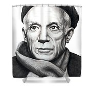 Pablo Picasso Shower Curtain by Murphy Elliott