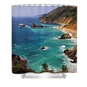 Pacific Coast Blues Shower Curtain by Donna Kennedy