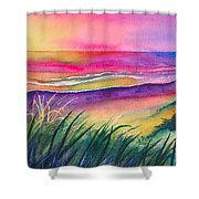 Pacific Evening Shower Curtain by Karen Stark