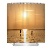 Paddle Boarding Out of the Sunset Shower Curtain by Bill Cannon