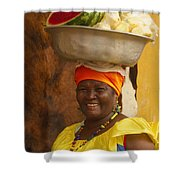 Palenquera In Cartagena Colombia Shower Curtain by Anna Smith