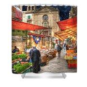 Palermo Market Place Shower Curtain by Juli Scalzi