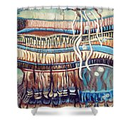 Palm Contractions Shower Curtain by Kerryn Madsen-Pietsch