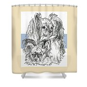 Papillon Father And Son Shower Curtain by Barbara Keith