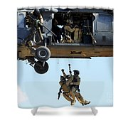 Pararescuemen Are Hoisted Into An Hh-60 Shower Curtain by Stocktrek Images