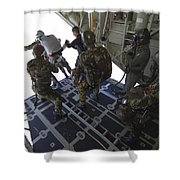 Paratroopers Jump From A C-130 Hercules Shower Curtain by Andrew Chittock