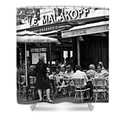 Paris Street Cafe - Le Malakoff Shower Curtain by Georgia Fowler