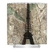 Paris Vintage Map And Eiffel Tower Shower Curtain by Georgia Fowler