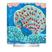 Peacock And Lily Pond Shower Curtain by Sushila Burgess