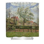 Pear Trees And Flowers At Eragny Shower Curtain by Camille Pissarro
