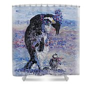 Penguin Love Shower Curtain by Nadine Rippelmeyer