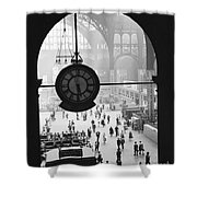 Penn Station Clock Shower Curtain by Van D Bucher and Photo Researchers