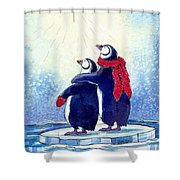 Penquins An Christmas Star Shower Curtain by Peggy Wilson