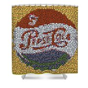 Pepsi Bottle Cap Mosaic Shower Curtain by Paul Van Scott