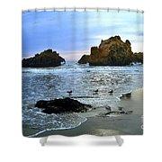 Pfeiffer Beach Evening - Big Sur Shower Curtain by Charlene Mitchell