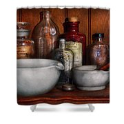 Pharmacist - Medicine For Coughing Shower Curtain by Mike Savad