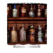 Pharmacy - Caution Don't Mix Together Shower Curtain by Mike Savad