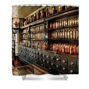 Pharmacy - So Many Drawers And Bottles Shower Curtain by Mike Savad
