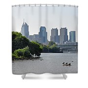 Philadelphia Along The Schuylkill River Shower Curtain by Bill Cannon
