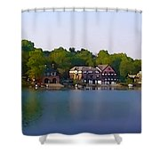 Philadelphia Boat House Row Shower Curtain by Bill Cannon
